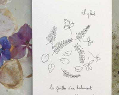 """Carte double Papillonnage """"Il pleut…"""""""