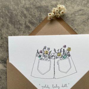 carte double petite baby doll, papillonnage, lodge boutique