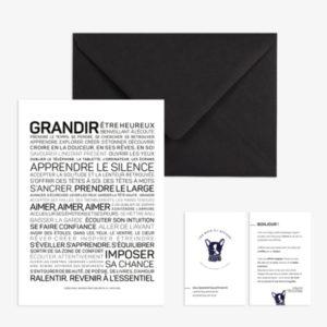 carte inspirante Grandir, les mots à l'affiche, lodge boutique