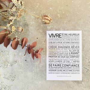 carte inspirante vivre, les mots à l'affiche, lodge boutique