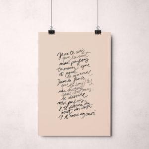 """affiche """"poème, la nuit"""" tifalia, la boutique de Lodge"""