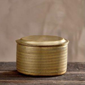 Boîte en laiton gravé large nkuku, lodge boutique